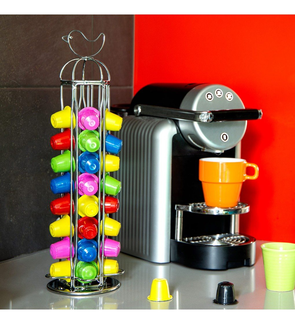 distributeur dosettes nespresso porte capsules nespresso design tweet nest argent pylones. Black Bedroom Furniture Sets. Home Design Ideas